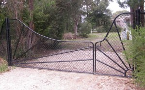 Gate, chainmesh gate, chain wire gate, chainlink gate, designer gate.