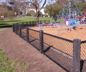 playground fence, chainwire fence,