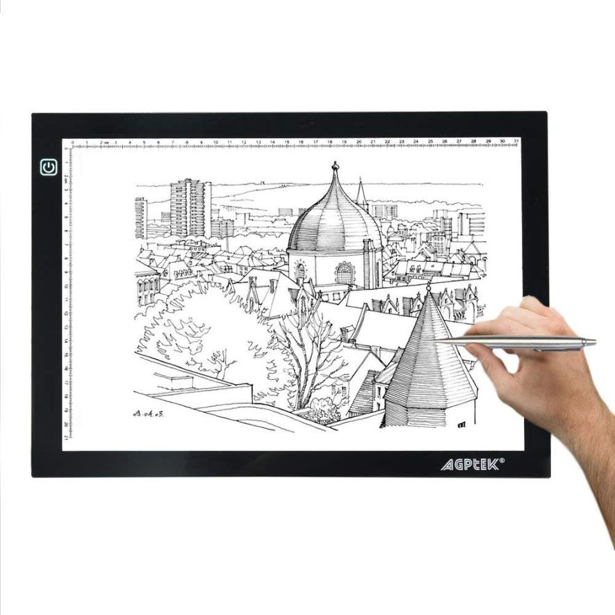 AGPtek Ultra-Thin A4 Light Box LED Copy Board Drawing Pad Tracing Table for Artists, Animation, Sketching, Designing with Brightness Adjustable