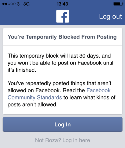Salih is now several days into her 30-day Facebook ban