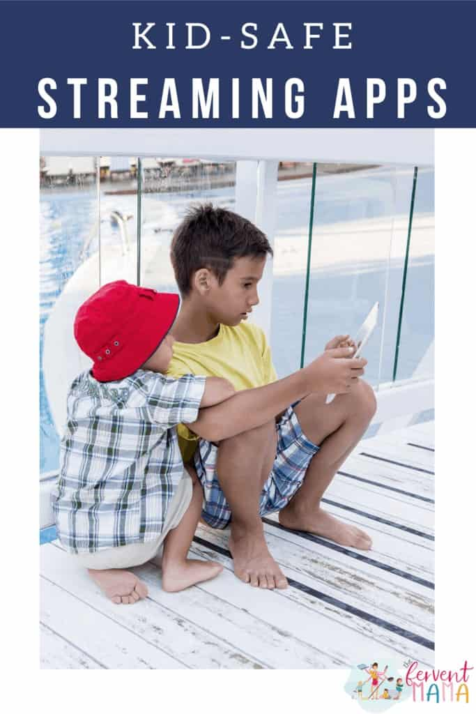 Kids sitting on pier watching tablet with the text overlay