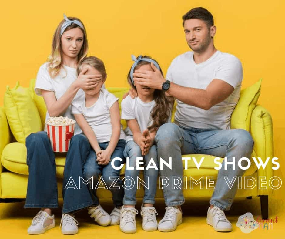 Parents sitting on the sofa with kids watching a movie. Parents have kids eyes covered with their hands. Text overlay