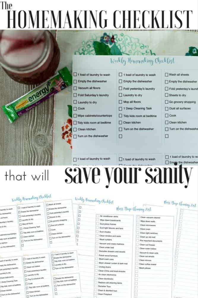 The Homemaking Checklist that will save your sanity: The Fervent Mama - You have run yourself ragged trying to keep up with daily duties. Being a wife, a homemaker, and a mom, this Homemaking Checklist will save your time, and your sanity!