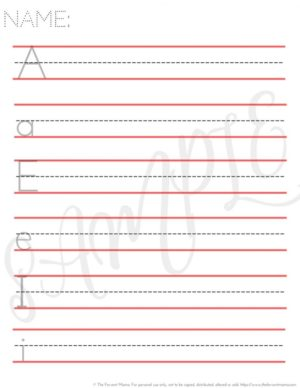 Vowel Tracing Practice Worksheet