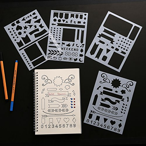 Bullet Journal Stencil Four Pack