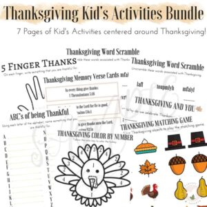 Thanksgiving Kid's Activities Bundle