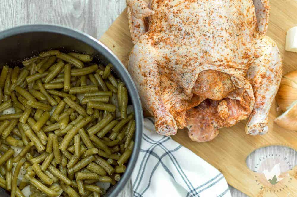 Pressure Cooker Whole Chicken, Potatoes, and Green Beans: The Fervent Mama - One of those tried and true, hard to mess up, always good, even when you just had it two days ago, meals. This Pressure Cooker Whole Chicken is just that.