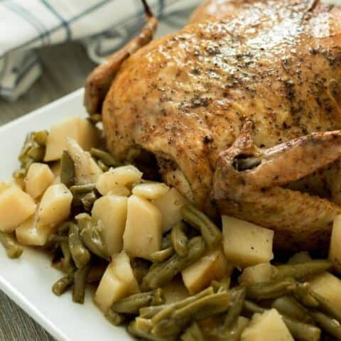 Pressure Cooker Whole Chicken with Potatoes and Green Beans