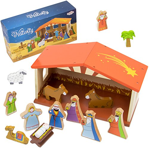 Deluxe Wooden Nativity Play Set - 14 Pieces!