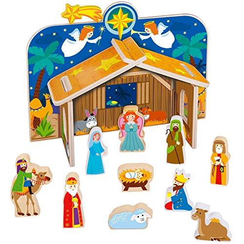 Timy Wooden Christmas Nativity Set for Kids