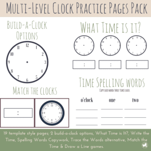 These multi-level clock practice worksheets are perfect for your little learner! Because most of the clock practice pages (19 PAGES) are in template form, you can fill them to fit your student's needs and learning level!