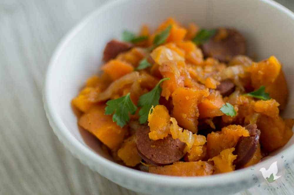 Sweet and Spicy Pressure Cooker Sweet Potatoes and Sausage: The Fervent Mama - Do you love sweet potatoes? What about sausage? We've created this yummy sweet potatoes and sausage pressure cooker recipe that will knock your socks off! Each layer of flavor adds an extra depth that your taste buds will love!