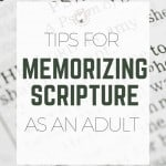 Life is so crazy hectic, especially for mamas. That's why I've come up with some fun tips for memorizing scripture for adults that are practical, and easy enough to have the whole family involved! #biblequiz #biblebymemory
