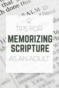 Life is so crazy hectic, especiallyfor mamas. That's why I've come up with some fun tips for memorizing scripture for adults that are practical, and easy enough to have the whole family involved! #biblequiz #biblebymemory