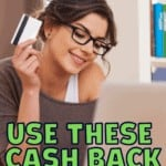 woman smiling with laptoip and credit card, shopping online with text overlay