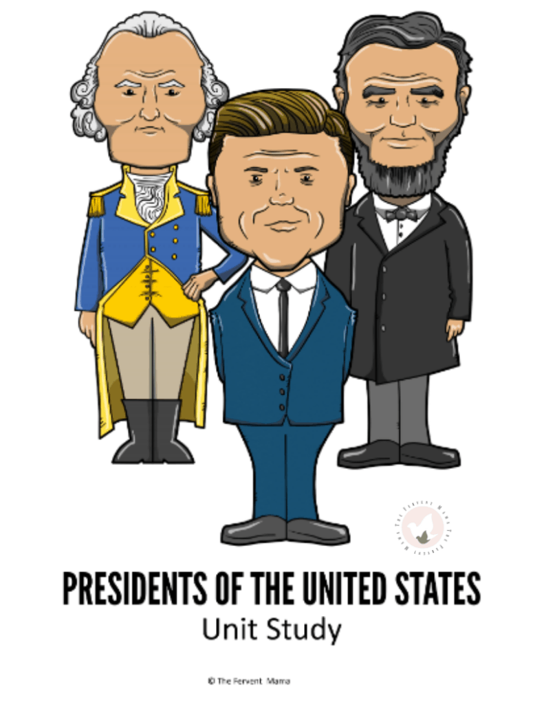 Presidential Unit Study for Beginners: The Fervent Mama - If you're gearing up for President's Day, we've got the best study companion out there! The Presidential Unit Study includes 49 pages of learning fun! Political parties, writing/drawing prompts, mock ballots, vocabulary sheets, & more! #presidentsday #presidentialunitstudy