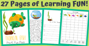 Tropical Fish Themed Workbook (PreK-1st)