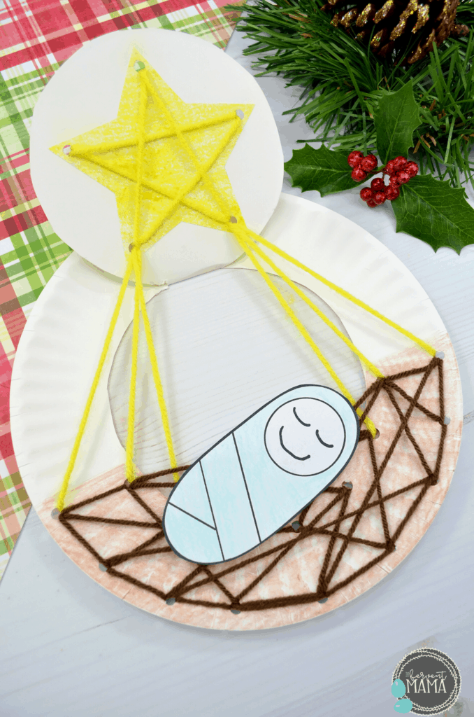 Paper Plate Lacing Manger Kids Craft: The Fervent Mama - This paper plate lacing manger craft is great for Christmas-time, but it's such a simple craft for toddlers that it can be used year-round when you're sharing Jesus with your littles! Maybe it's just my homeschool mom nature, but making sure our kids have a knowledge of Christ is so much more than reading them a simple story. Make the Bible come alive to your kids with hands-on Bible crafts and activities!