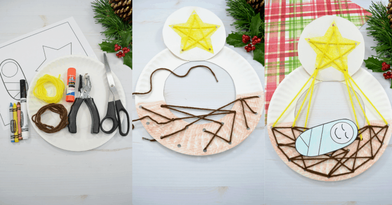 Manger Craft for Kids: Paper Plate Lacing Activity