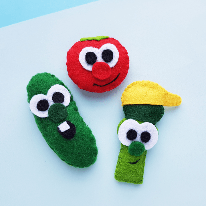 VeggieTales inspired characters Bob, Larry, and Junior made into felt plushies.