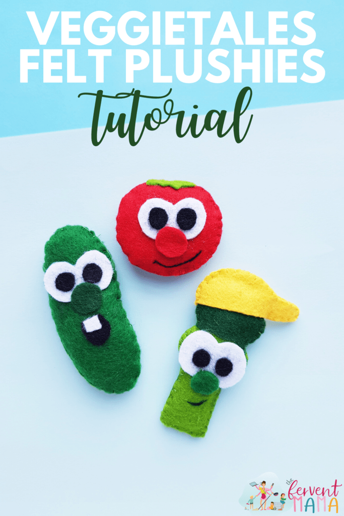 "VeggieTales inspired Plush characters on a blue background with the text overlay ""VeggieTales Felt Plushies Tutorial"""