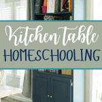 "blue bookshelf with lots of folders and books in a dining area with text overlay ""kitchen table homeschooling"""