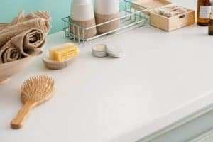 Bathroom Counter Top with reduced waste optics and natural beauty products