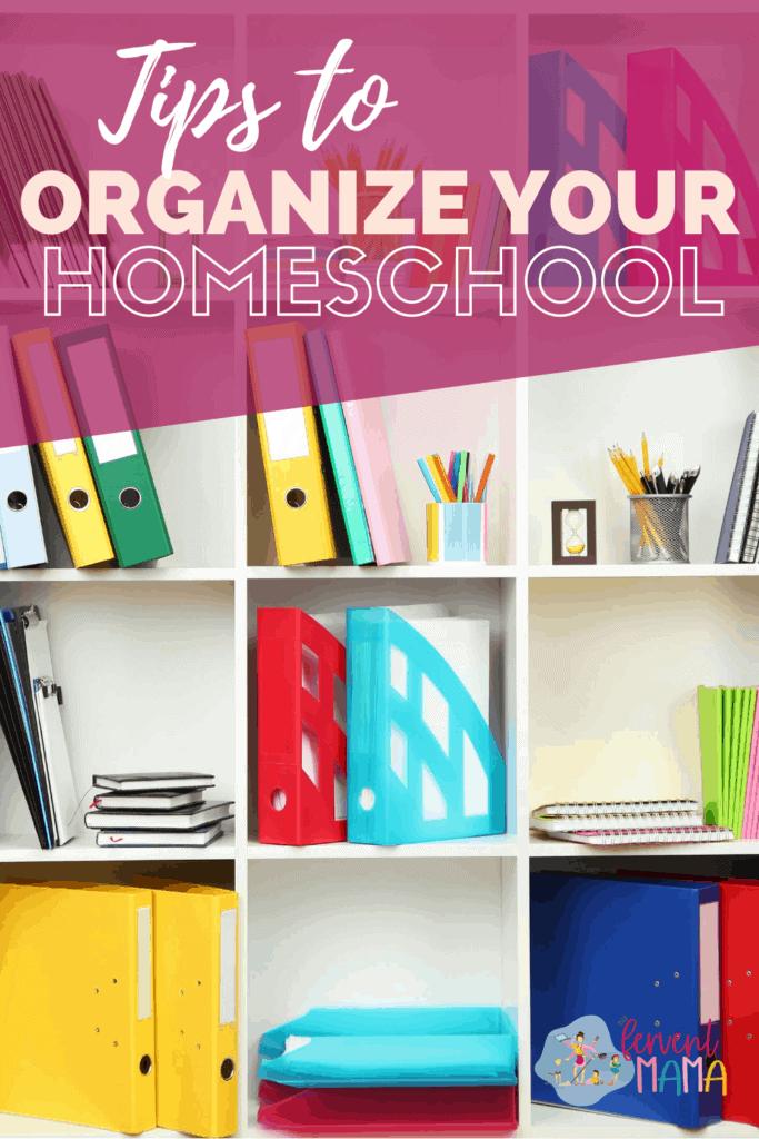 bookshelf display beautiful homeschool organization with text overlay