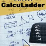 "math written in background of photo with text overlay ""homeschool math calculadder"""