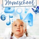 girl in wonder as she looks at educational visuals floating around her. Text overlay says using visuals in your homeschool