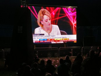 The festival provided live coverage of the general election through Thursday night