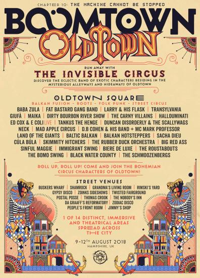 Boomtown Chapter 10 2018 Diss-order Alley Line-up Poster: Old Town