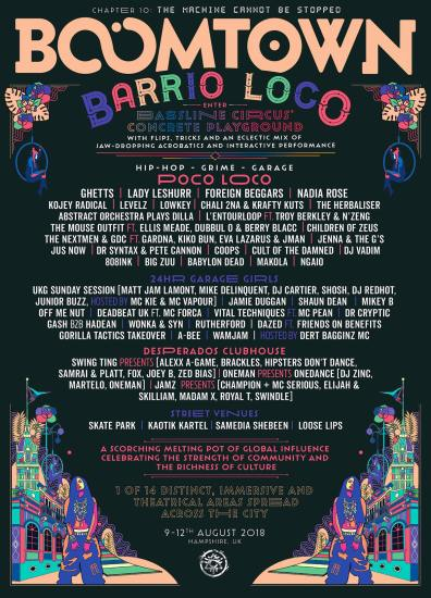 Boomtown Chapter 10 2018 Diss-order Alley Line-up Poster: Barrio Loco