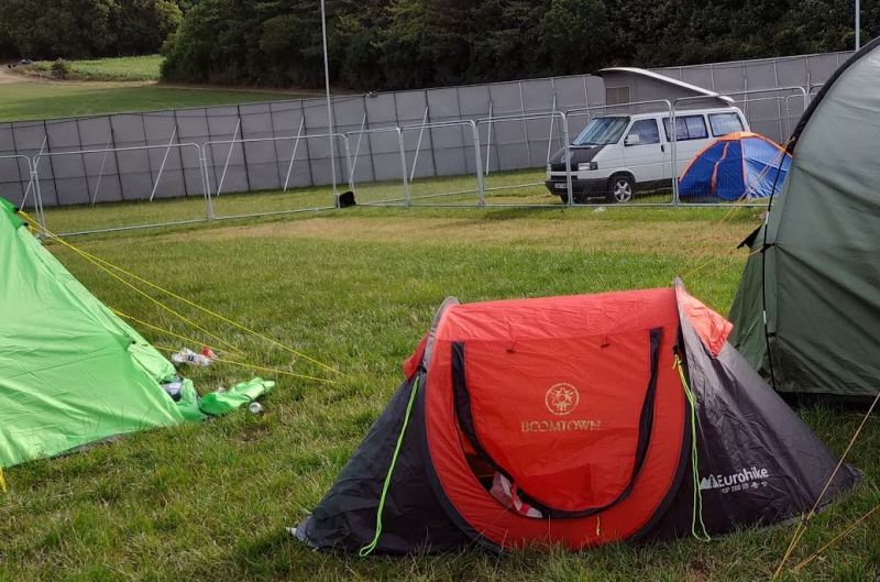A pop-up tent at Boomtown