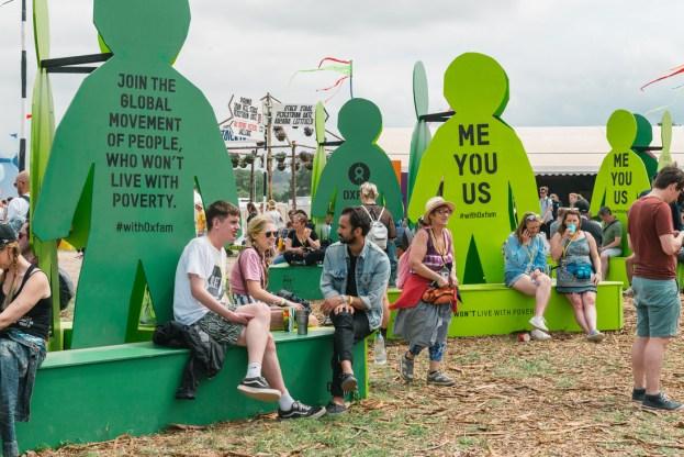 Oxfam seating at Glastonbury