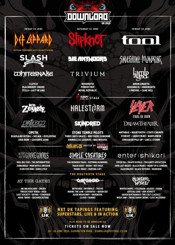 Download Festival 2019 line-up poster