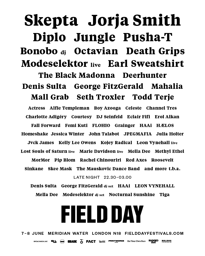 Field Day Second Wave Line-up Poster 2019