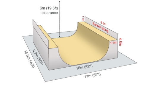 Vert Ramp Dimensions Wheels and Fins