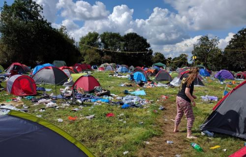 Reading Festival Aftermath Campsite Plastic Messy
