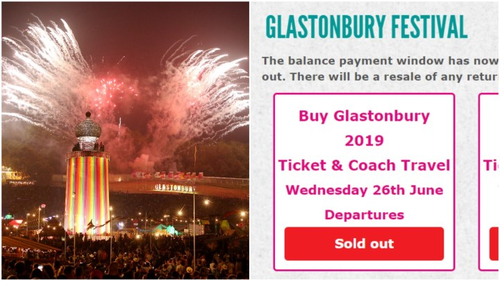 Glastonbury coach resale sold out