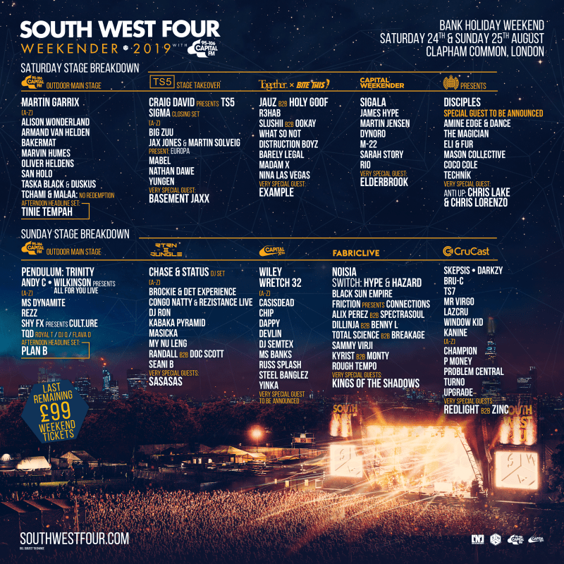 South West Four Line-up Poster 2019