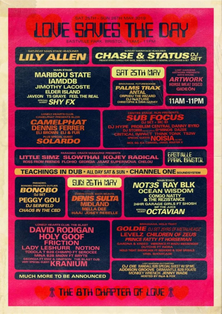 Love Saves The Day 2019 line-up poster