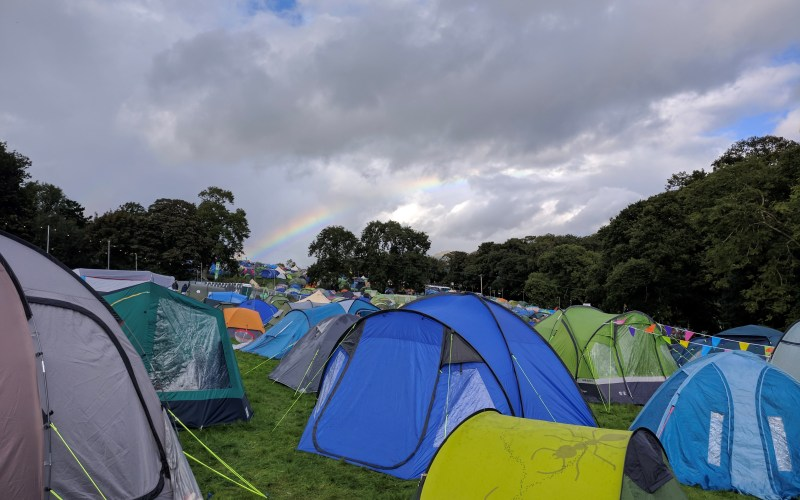 Rainbow over the campsite at Festival No. 6