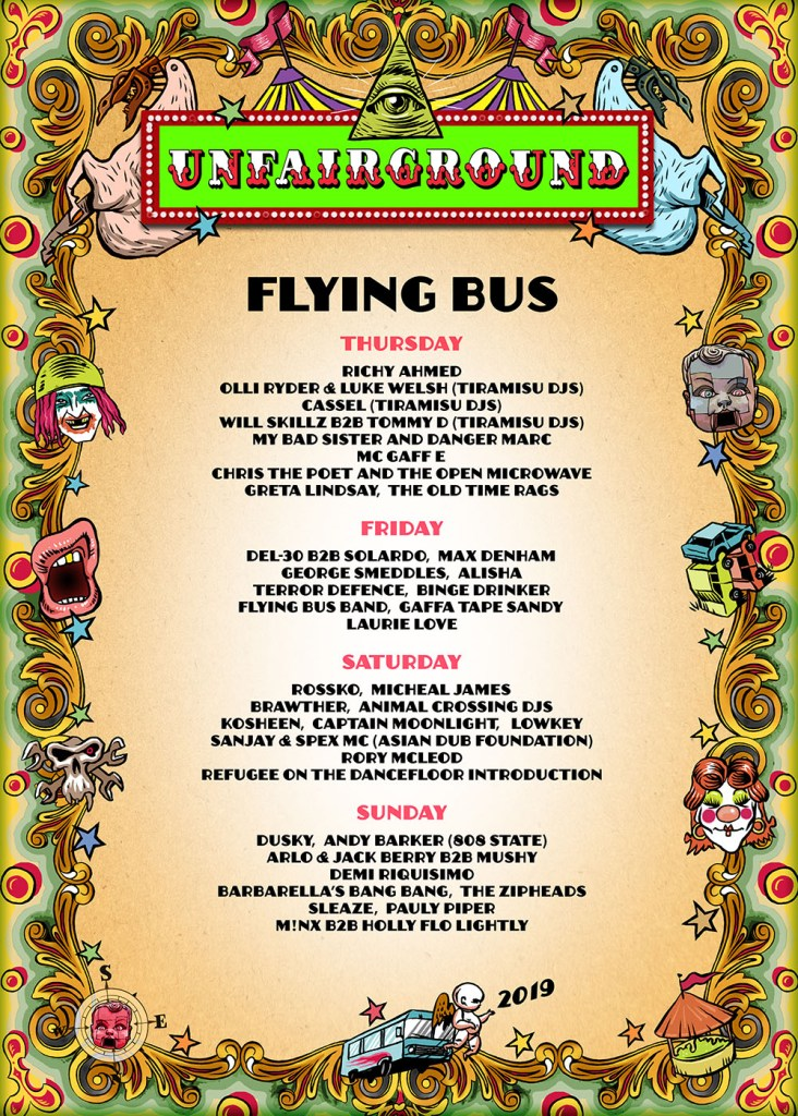 Glastonbury 2019 Unfairground flying bus poster