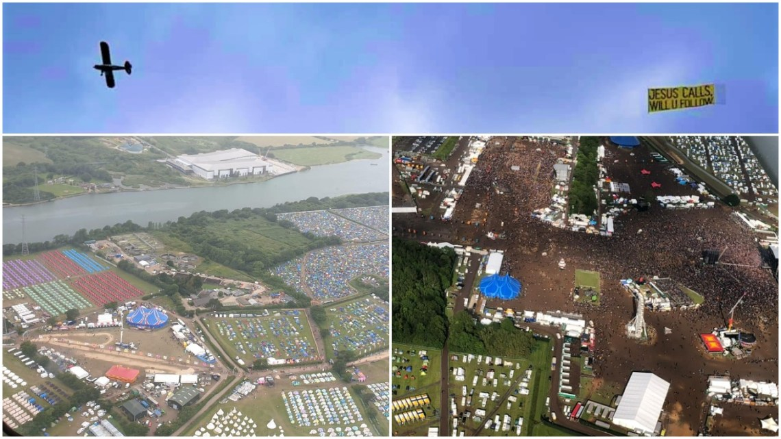 Jesus Plane over Download and Isle of Wight Festivals 2019