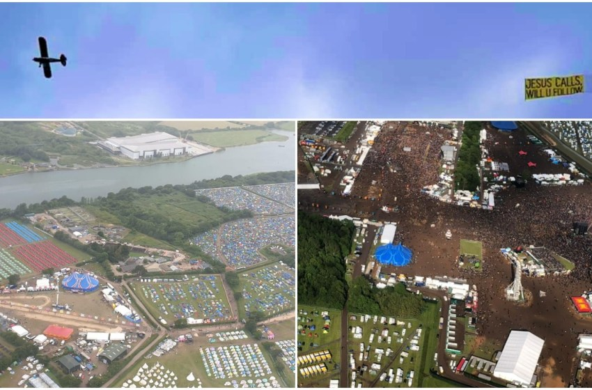 Exclusive aerial photos of Download and Isle of Wight Festival from the 'Jesus calls' plane