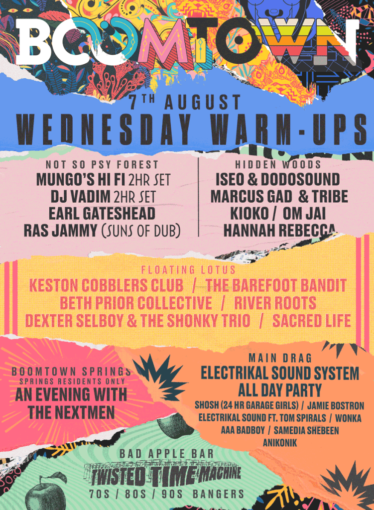 Boomtown 2019 Wednesday Line-up Poster