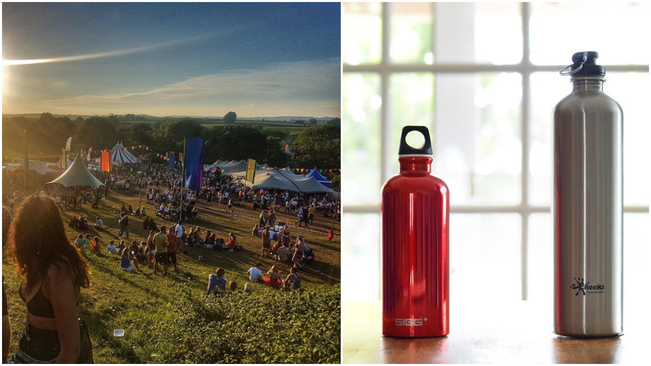 Festival Water Bottle Glastonbury Inspired Plastic Free Re Usable Double Walled