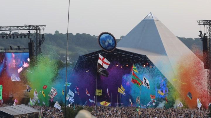Glastonbury Pyramid Stage rainbow
