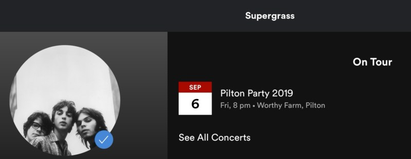 Supergrass reformed Pilton Party Glastonbury - Spotify screenshot
